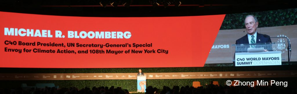 Michael R Bloomberg speaks at climatevent