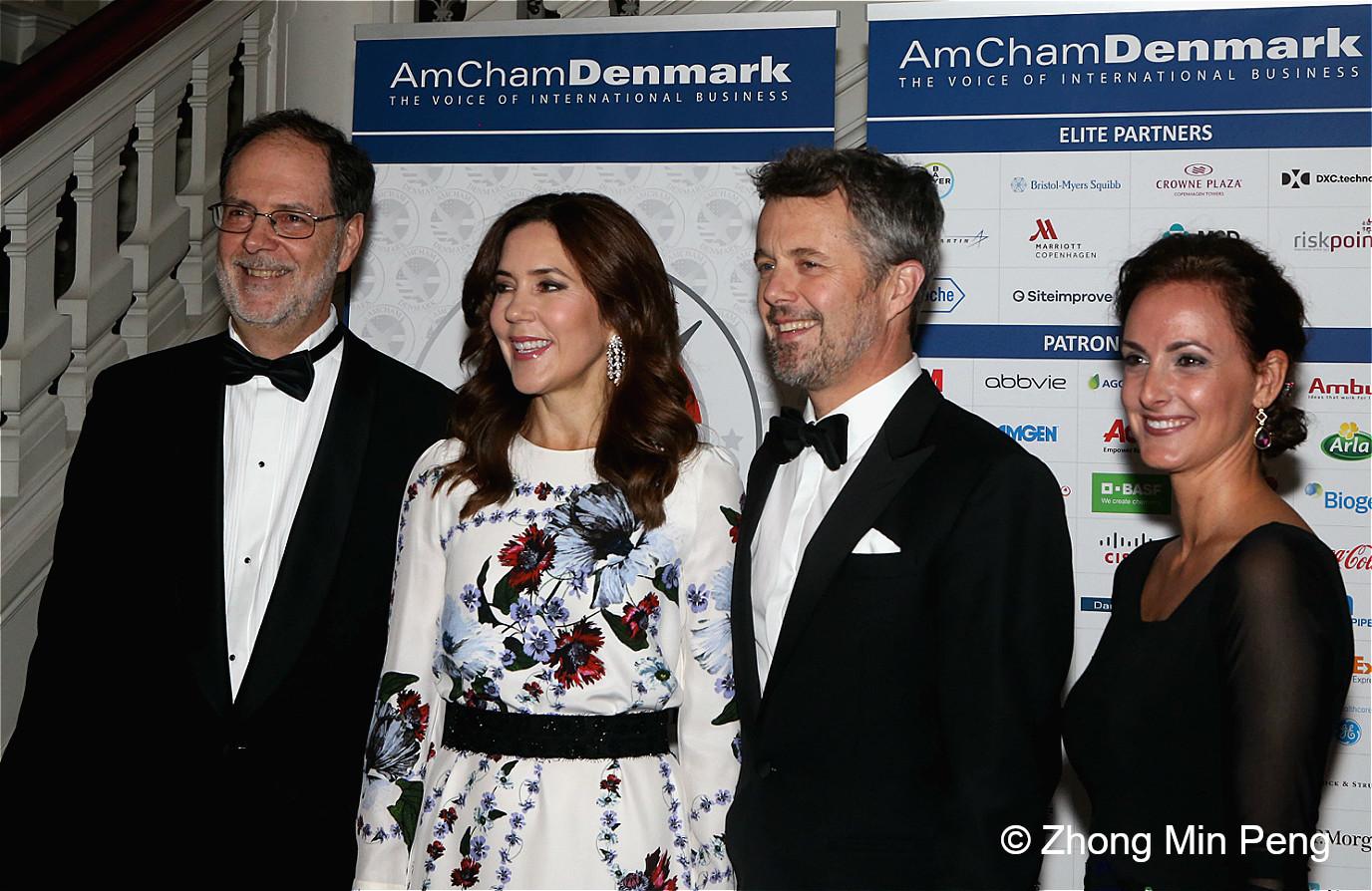 The Crown Prince and Princess of Denmark and AmChams Chair Angela Naef - DuPont